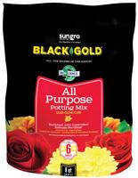 sun gro BLACK GOLD 1410102 8.00 QT P Potting Mix, Brown/Earthy, Granular