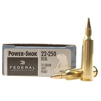 Federal Power Shok .22-250 55GR Soft Point 20 Rounds