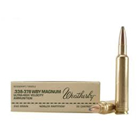 Weatherby CenterFire .338-378 WBY 250GR Nosler Partition 20 Rounds
