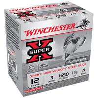 "Winchester Super X Waterfowl 12GA #4 Steel Shot 3"" 1-1/8oz 25 Rounds"