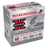 "Winchester Super X Waterfowl 12GA BB Steel Shot 2-3/4"" 1-1/8oz 25 Rounds"