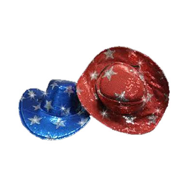 Sequin Star Red or Blue Cowboy Hat d89cf688db0