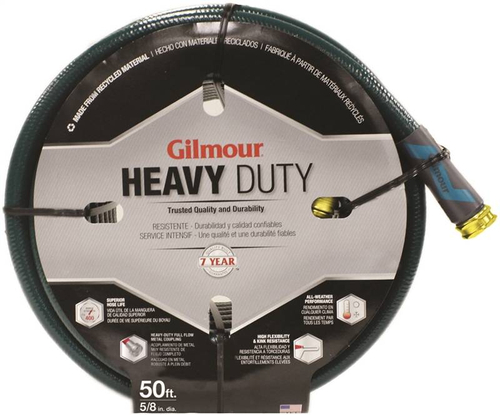 Gilmour 26-58050 Green 5 Ply All Seasons Double Reinforced Vinyl Hose 5/8 Inch x 50 Feet