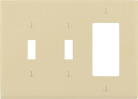 WALL PLATE 3-G SWITCH/DECO IVORY