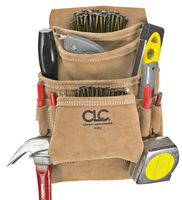 CLC Tool Works I923X Nail and Tool Bag, 10 Pocket, Suede Leather, Tan