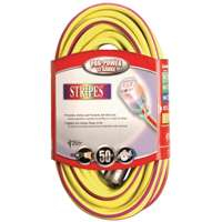 Coleman Cable 025480022 50-Foot 12/3 Neon Outdoor Extension Cord, Yellow/Purple