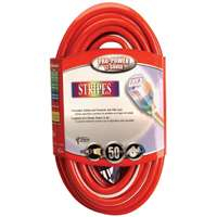 Coleman Cable 02549-41 100-Feet 12/3 Neon Outdoor Extension Cord, Red/White