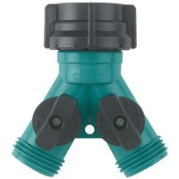 Gilmour 17 Twin Shut-Off Valves Hose Connector, Teal/Black
