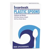 PLASTIC SPOON BX/100 WHT MED WGH